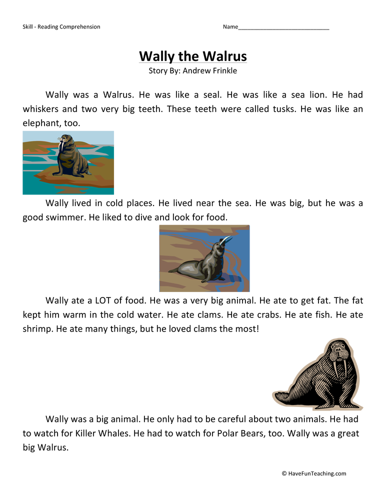 Wally the Walrus - Reading Comprehension Worksheet