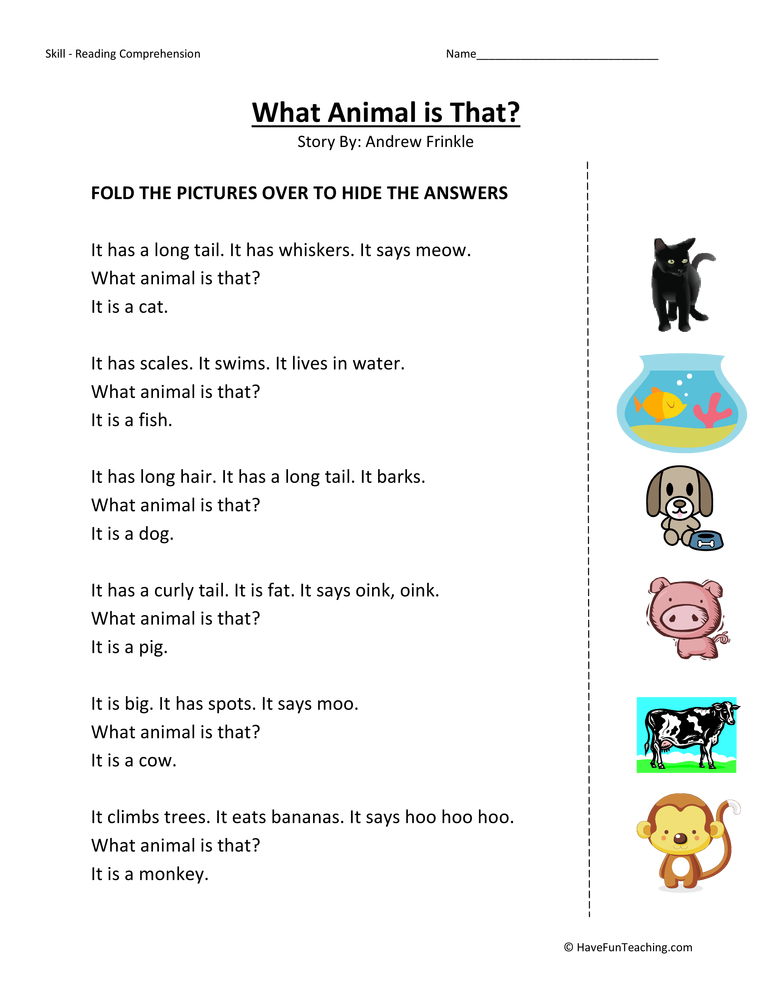 math worksheet : kindergarten reading comprehension worksheet  what animal is that  : Kindergarten Reading Comprehension Worksheet