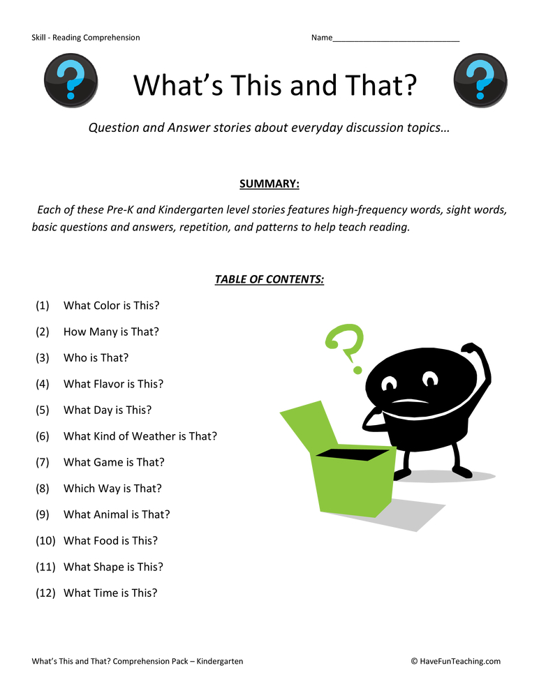 What's this and That? Reading Comprehension Test Collection | Have ...