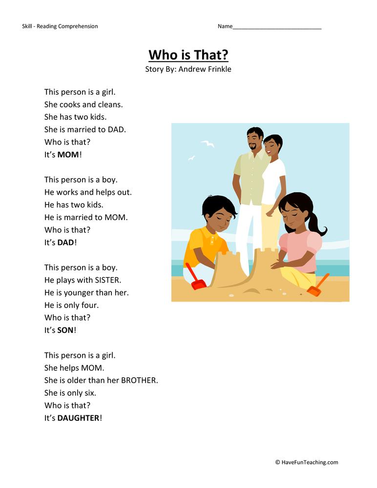 math worksheet : kindergarten reading comprehension worksheet  who is that : Kindergarten Comprehension Worksheet