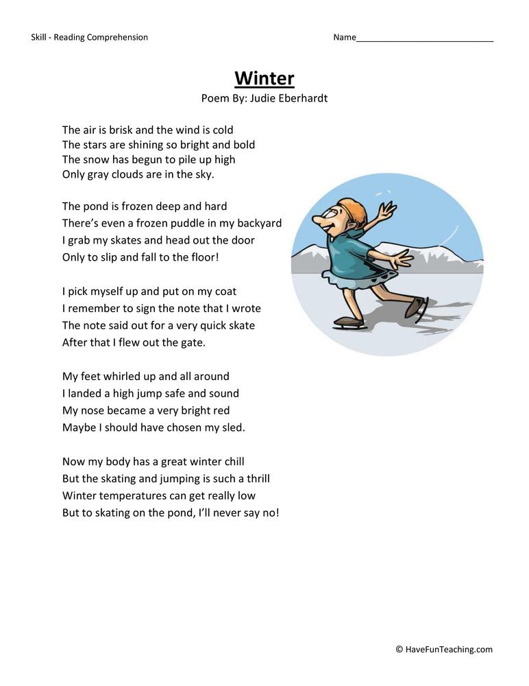 Third Grade Reading Comprehension Worksheet – Winter Free Worksheets