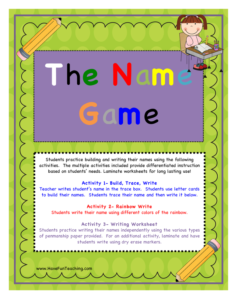 writing name activity