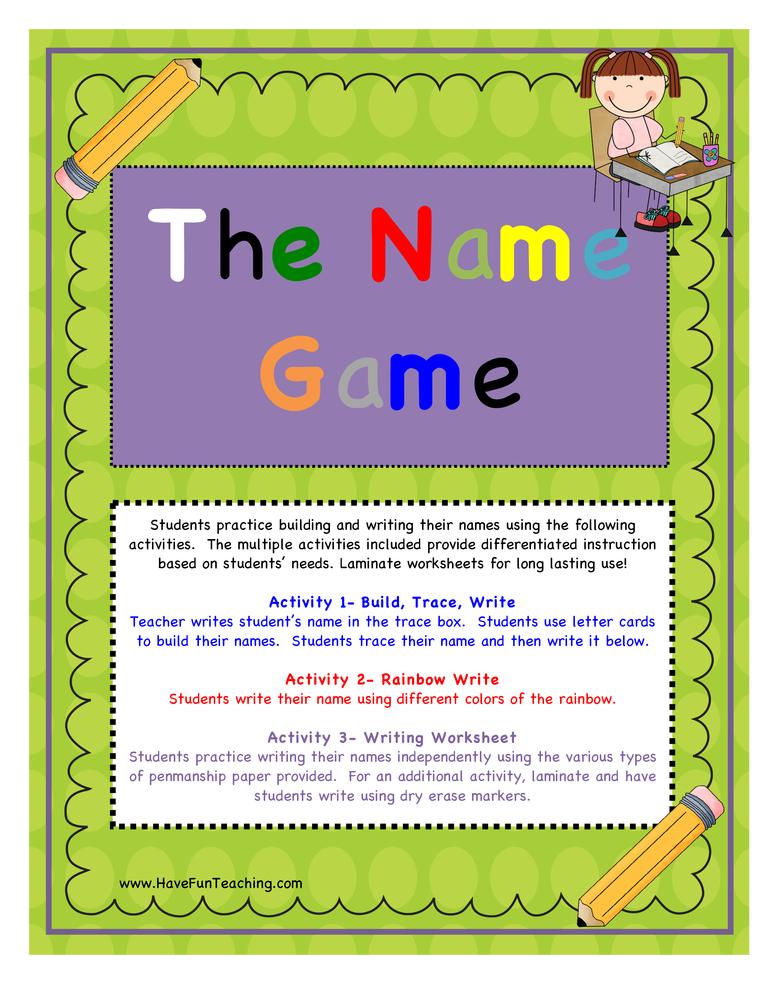 writing name activity