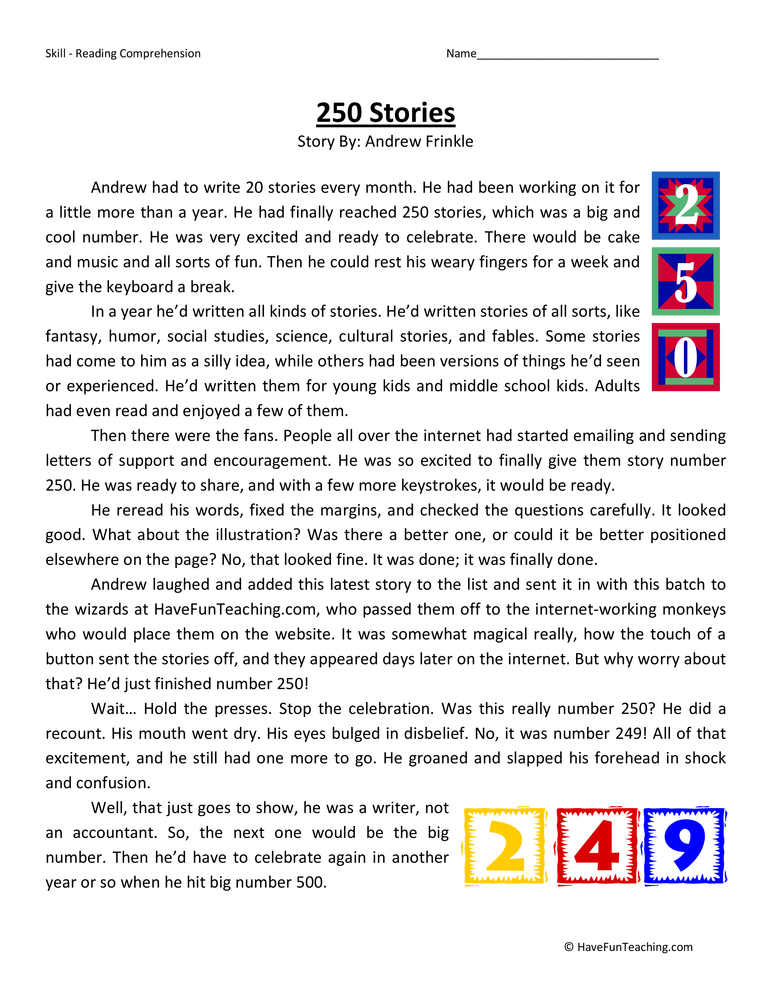 250 Stories Fourth Grade Reading Comprehension Test