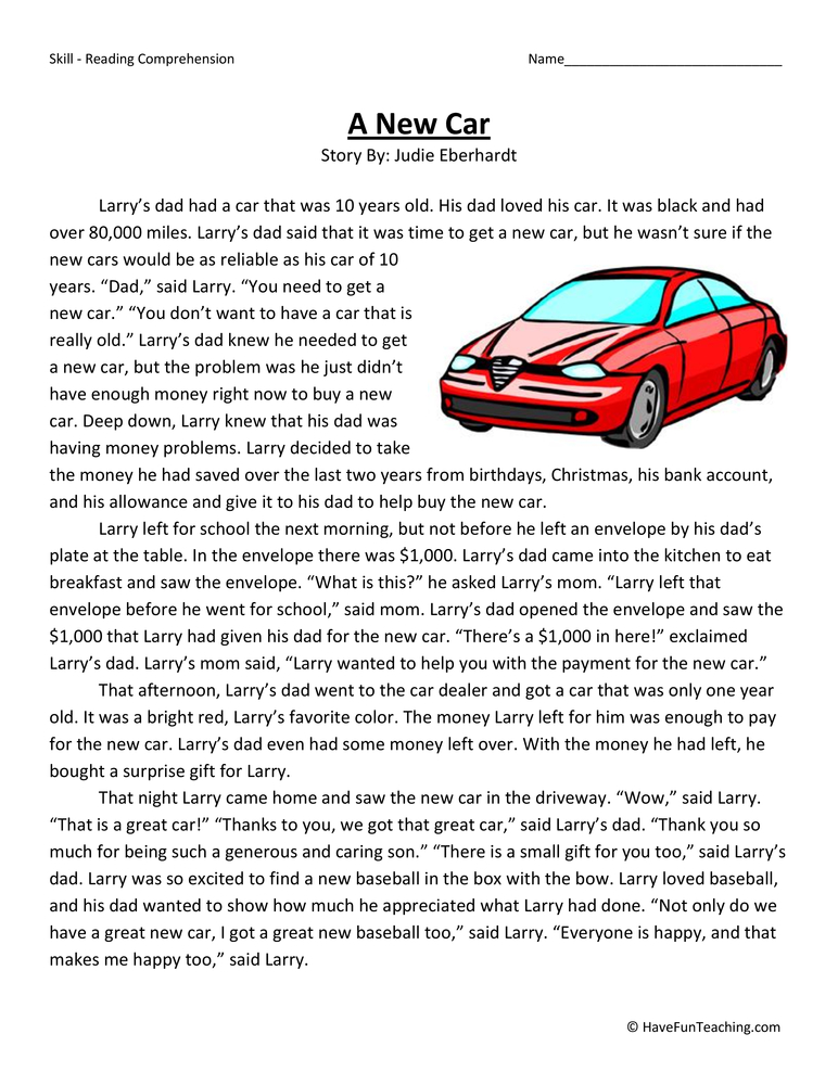 A New Car Fourth Grade Reading Comprehension Test