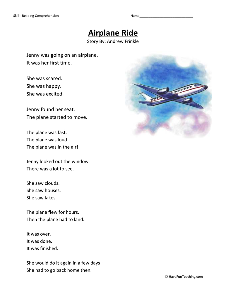 airplane ride first grade reading comprehension worksheet