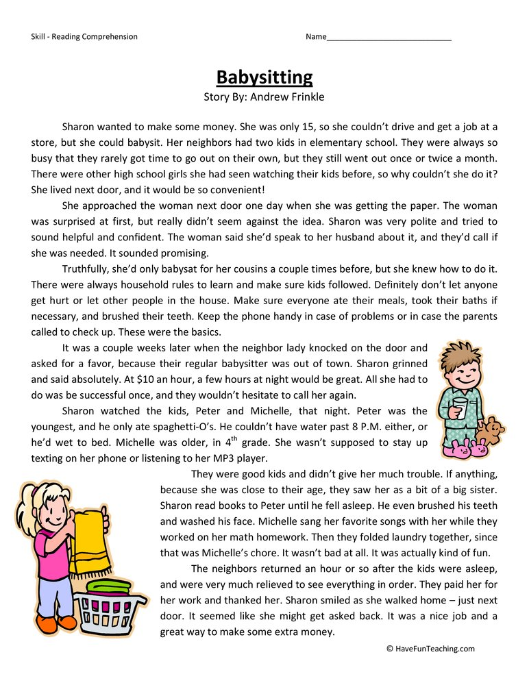 Printables Babysitting Worksheets fourth grade reading comprehension worksheet babysitting have test