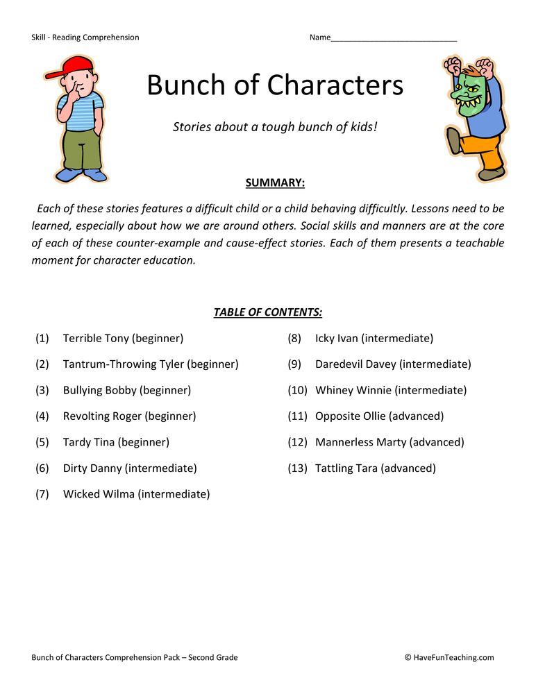 Bunch of Characters Reading Comprehension Test Collection