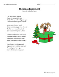Printables Christmas Reading Comprehension Worksheets second grade reading comprehension worksheet christmas excitement fourth test