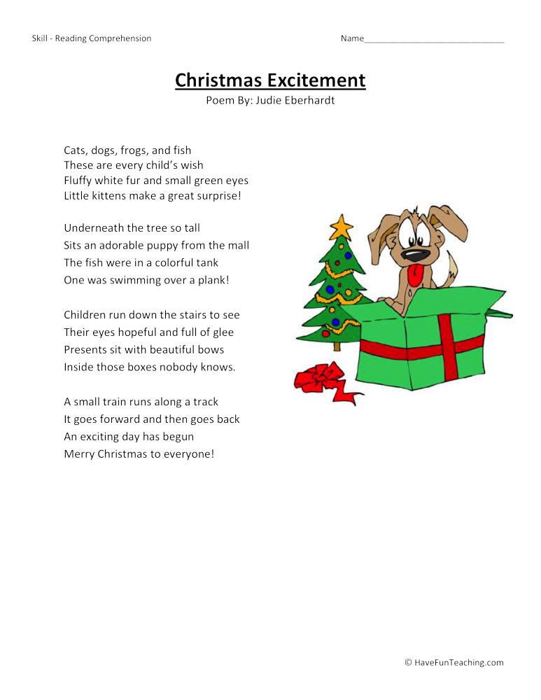 christmas excitement reading comprehension worksheet have fun teaching. Black Bedroom Furniture Sets. Home Design Ideas