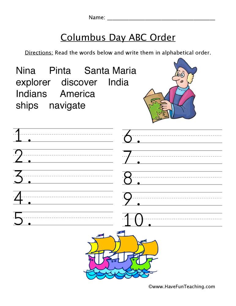 Columbus Day ABC Order Sorting Worksheet