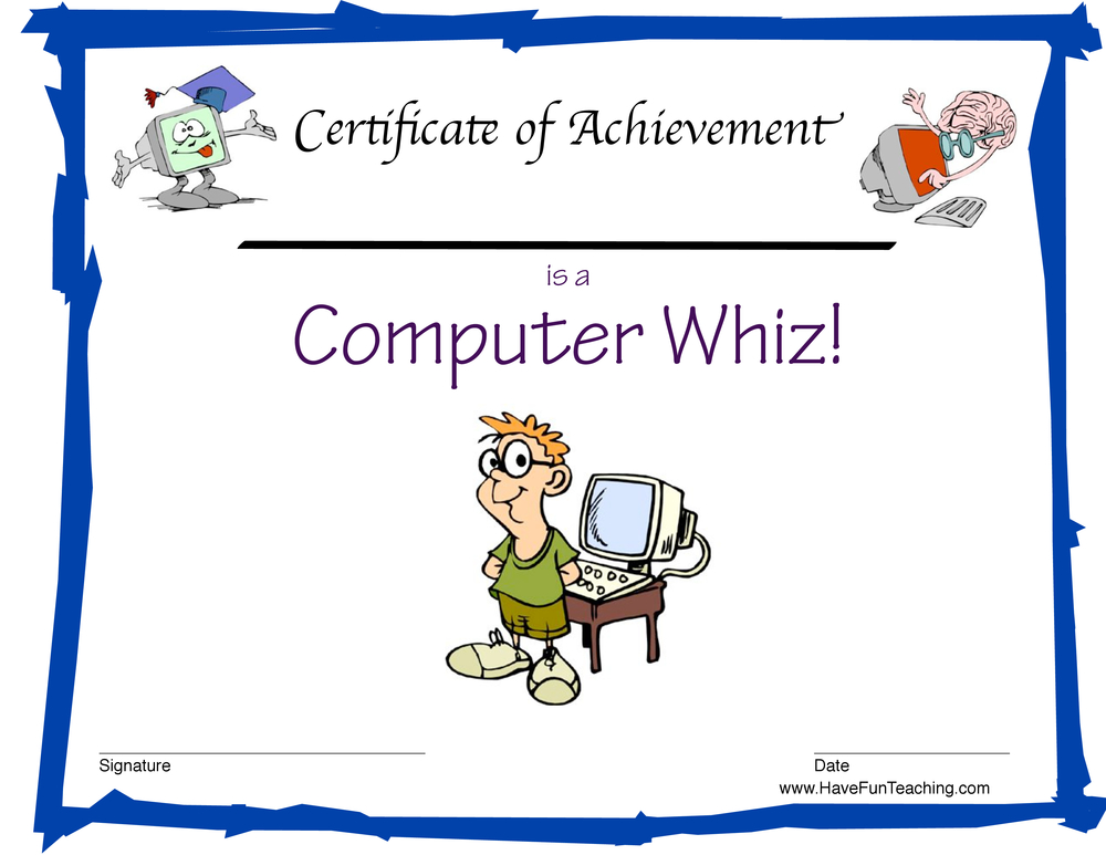 Computer Whiz Reward Certificate for Boys