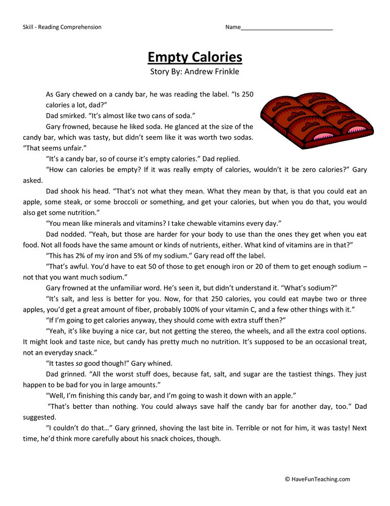 empty calories reading comprehension worksheet have fun teaching