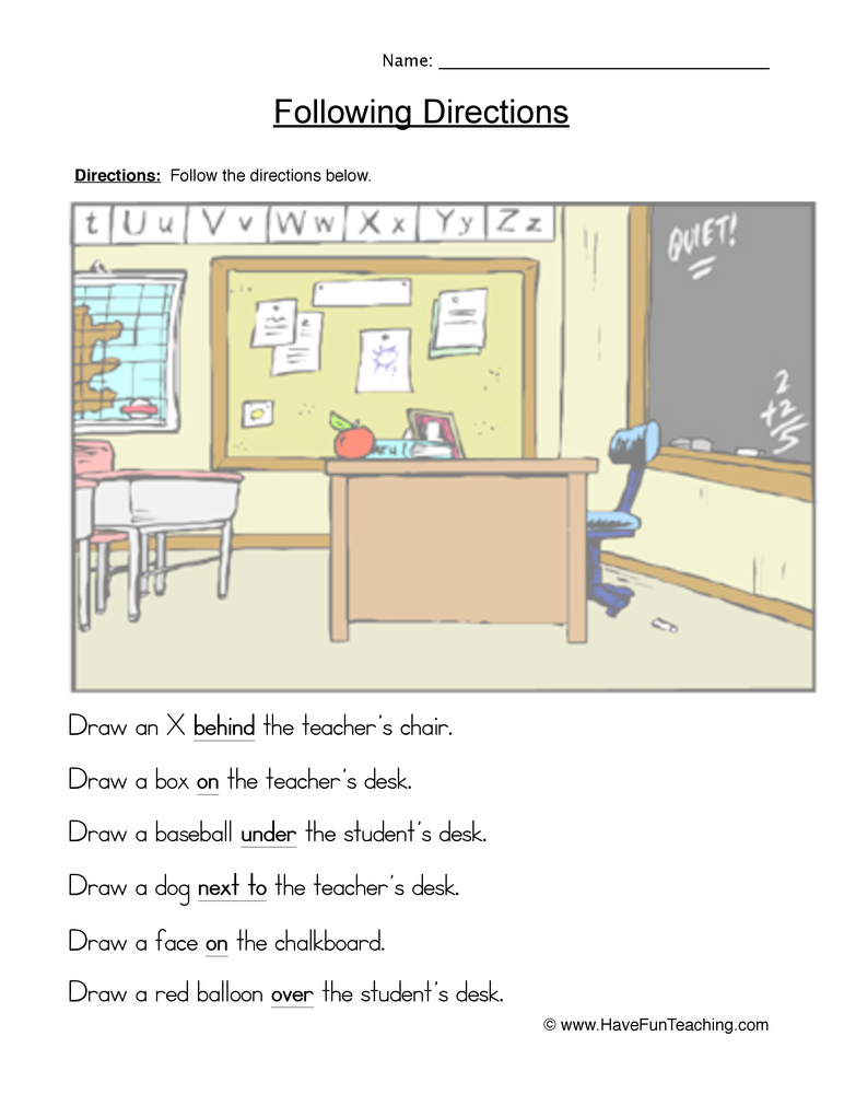 Following Directions Worksheets Have Fun Teaching