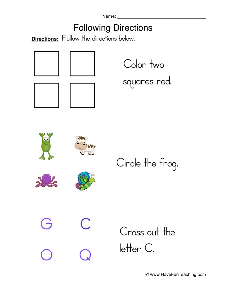 math worksheet : direction worksheets  have fun teaching : Following Directions Worksheet For Kindergarten