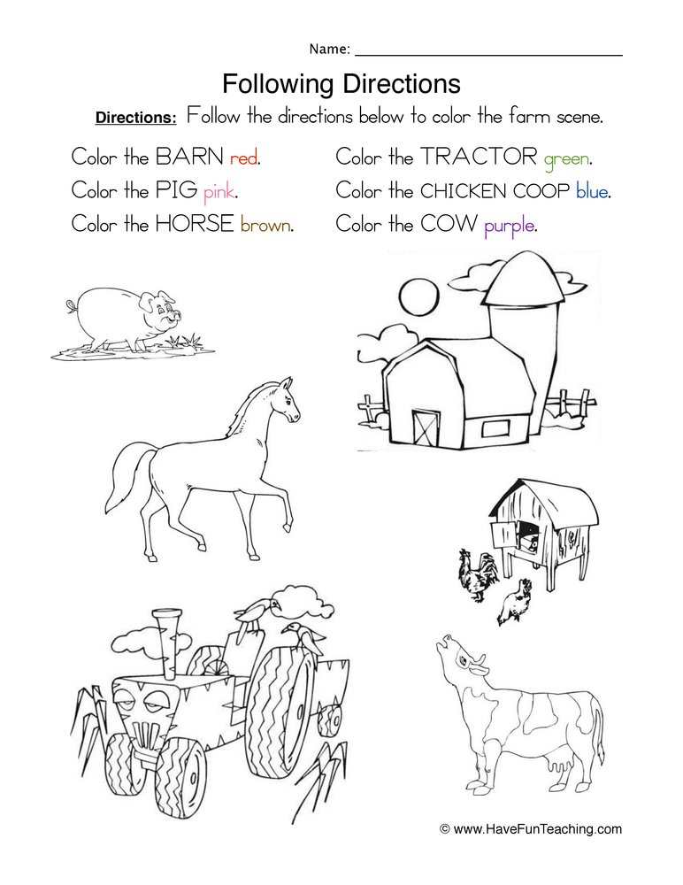 Following Directions Worksheet - Coloring - Have Fun Teaching