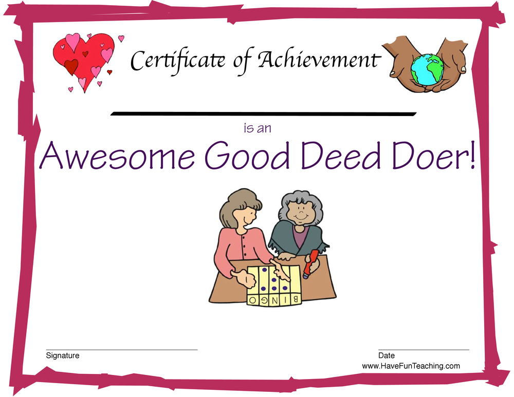 Good Deeds Award for Girls
