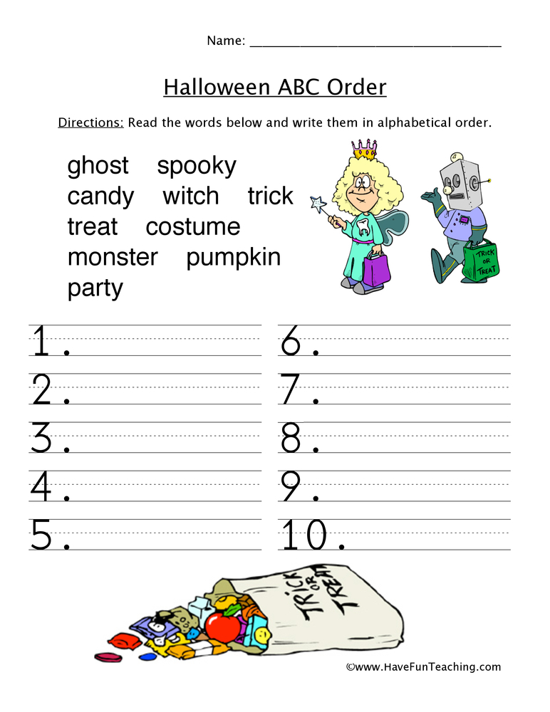 Halloween ABC Sorting Worksheet