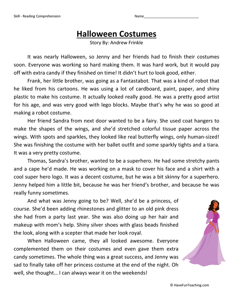 halloween costumes fourth grade reading comprehension test - Free Halloween Reading Comprehension Worksheets