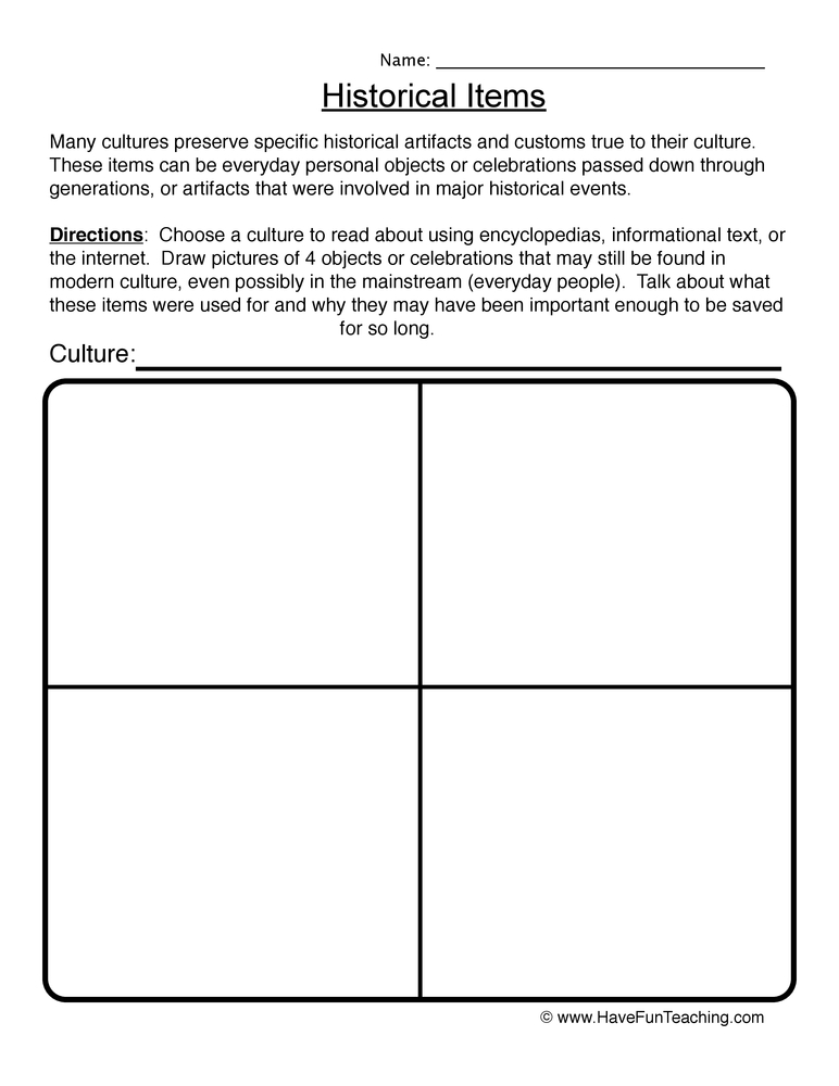 Historical Items Worksheet