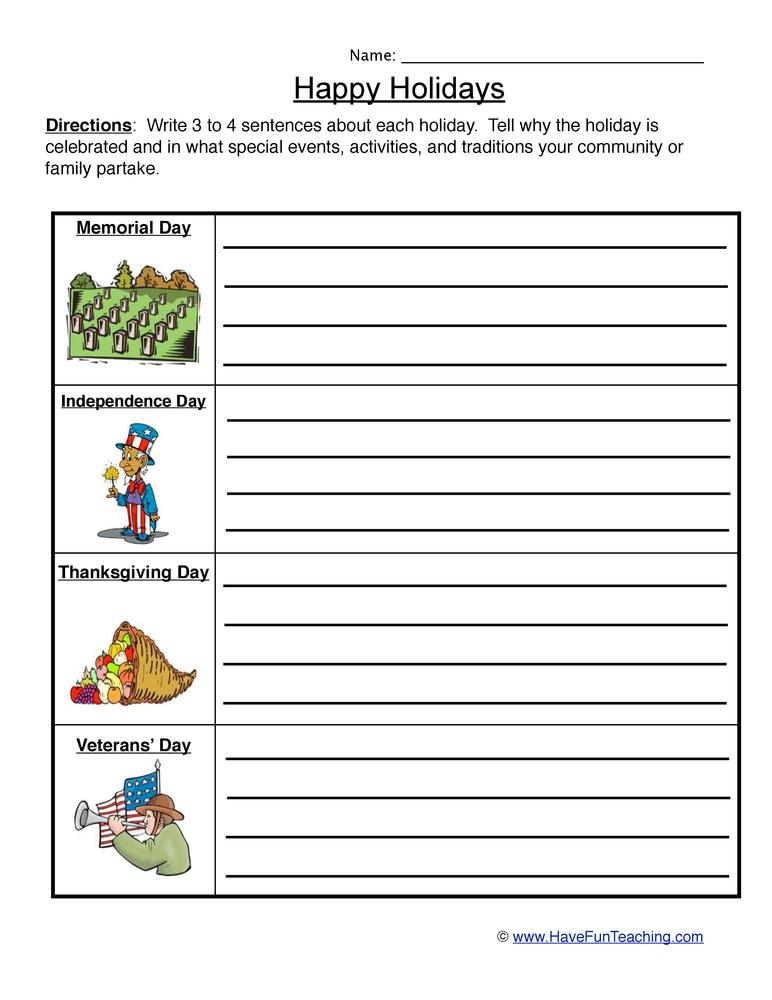 Holiday Worksheet - Patriotic Holidays