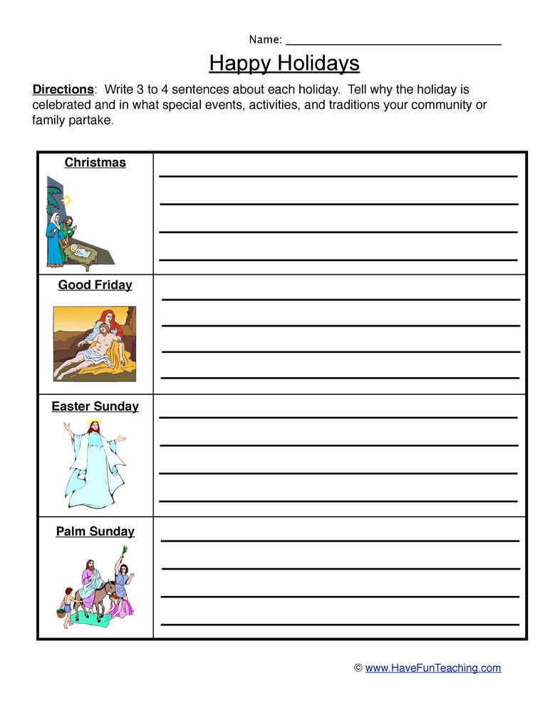 Christian Holidays Worksheet