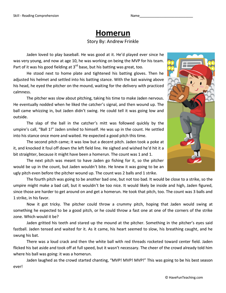 grade reading comprehension worksheet homerun homerun fourth grade ...
