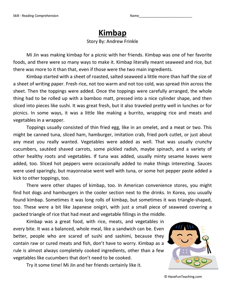 Printables Reading Comprehension Worksheets For 6th Grade reading comprehension worksheets have fun teaching kimbap sixth grade test
