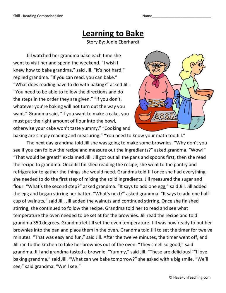 Learning to Bake Reading Comprehension Worksheet | Have ...