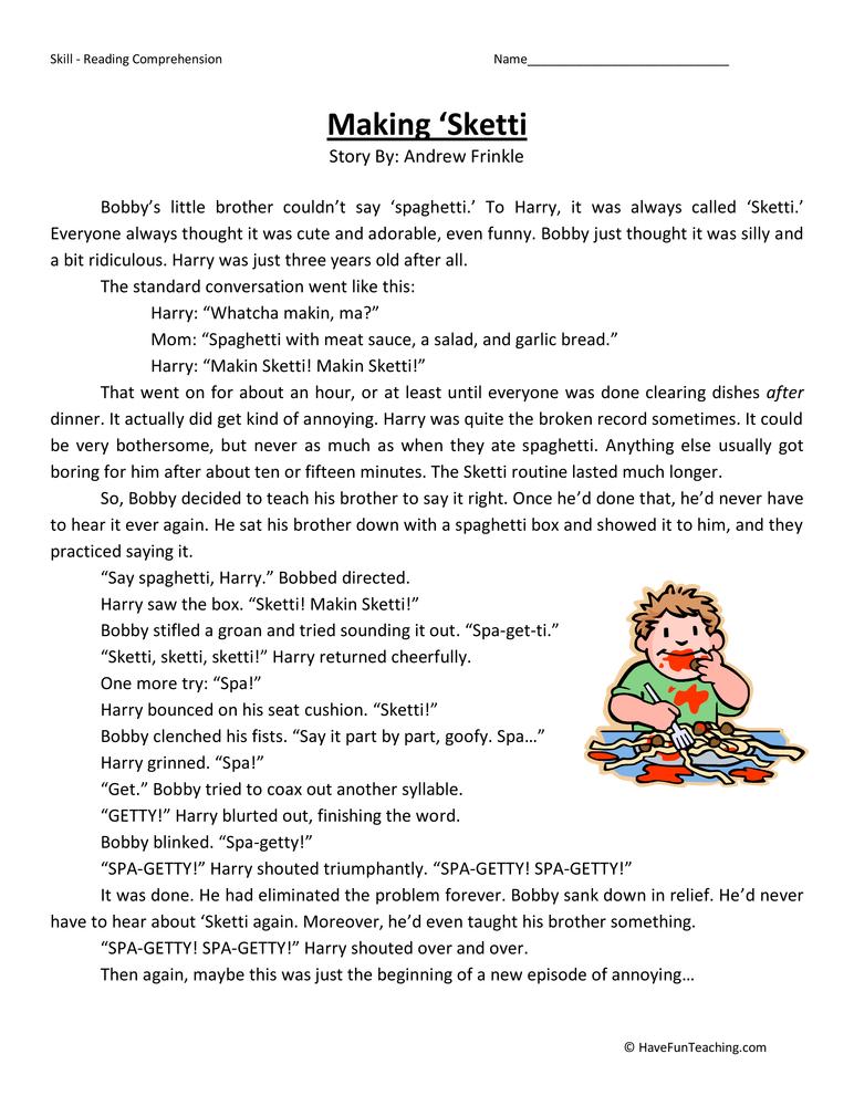 Making Sketti Reading Comprehension Worksheet