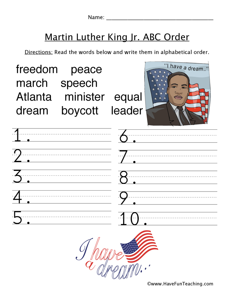 Martin Luther King Jr. Worksheets - Have Fun Teaching