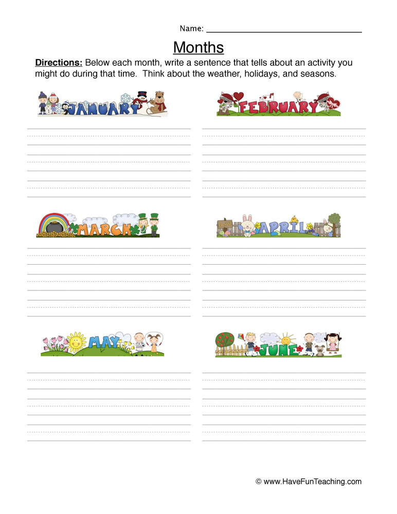 Months Worksheet - Writing