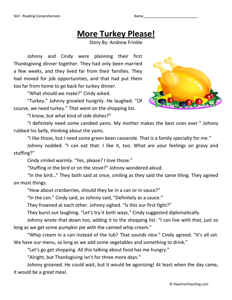 More Turkey Please Fourth Grade Reading Comprehension Worksheet