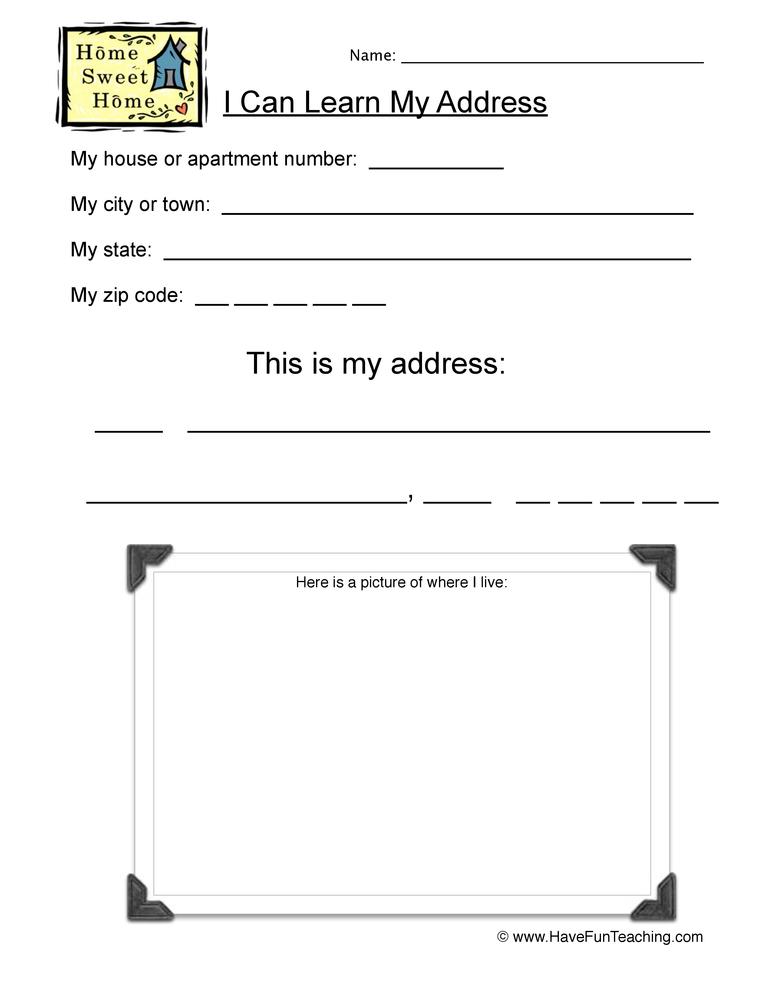 My Address Worksheet Write And Draw