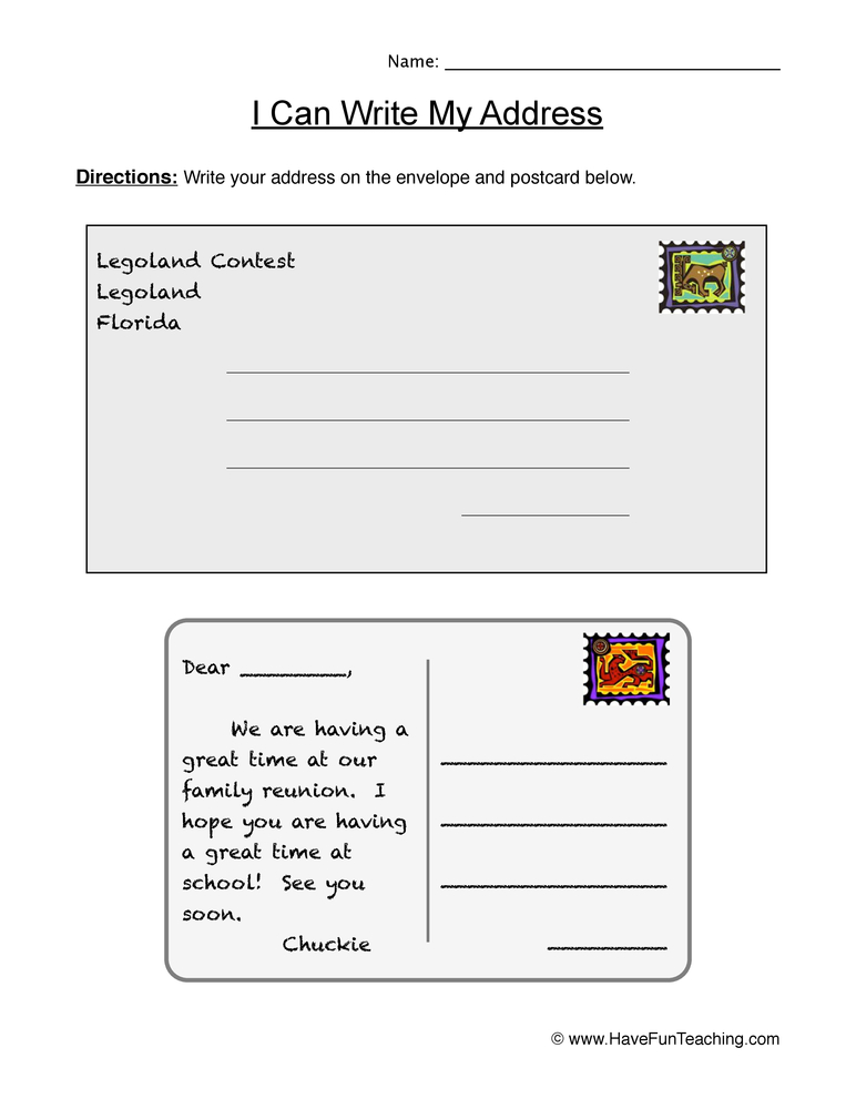 My Address Worksheet - Letters