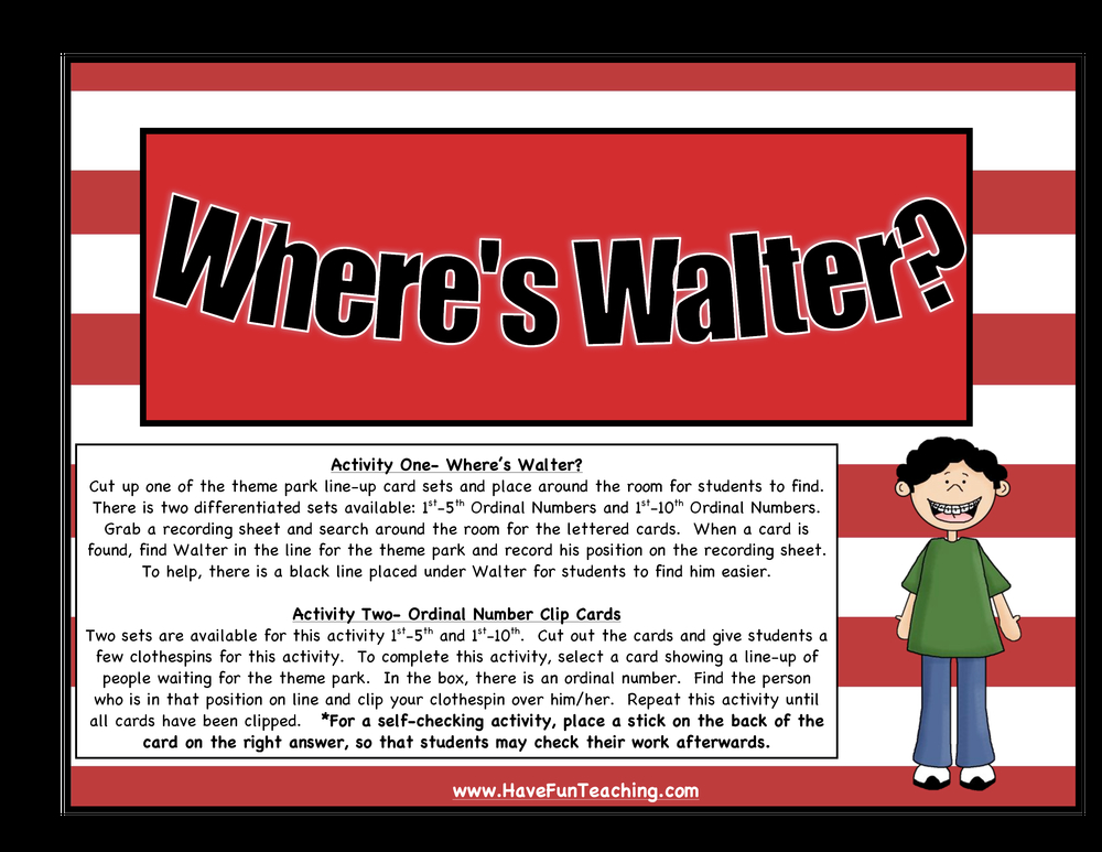 Ordinal Numbers Activity - Where's Walter