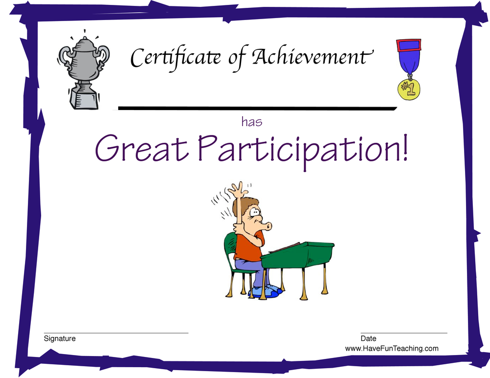 Participation Award for Boys