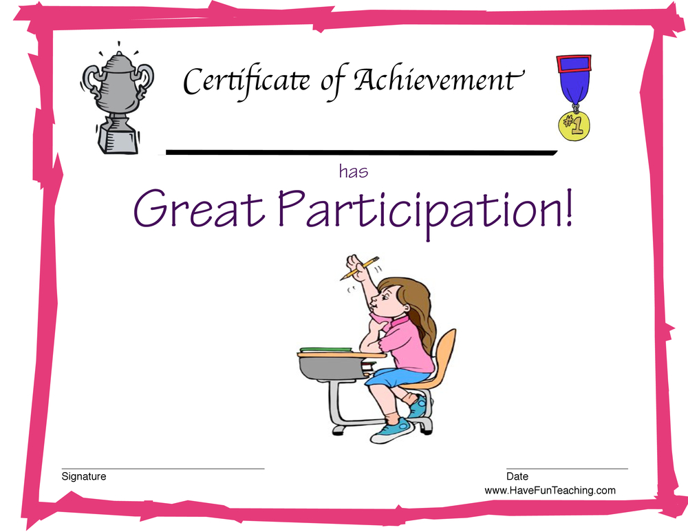 Participation Award for Girls