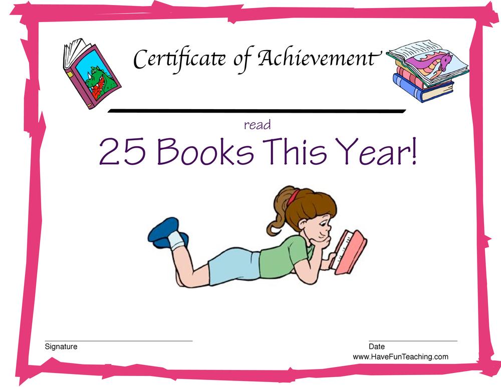 Read 25 Books Reward Certificate for Girls