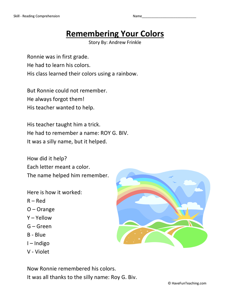 remembering your colors first grade reading comprehension worksheet