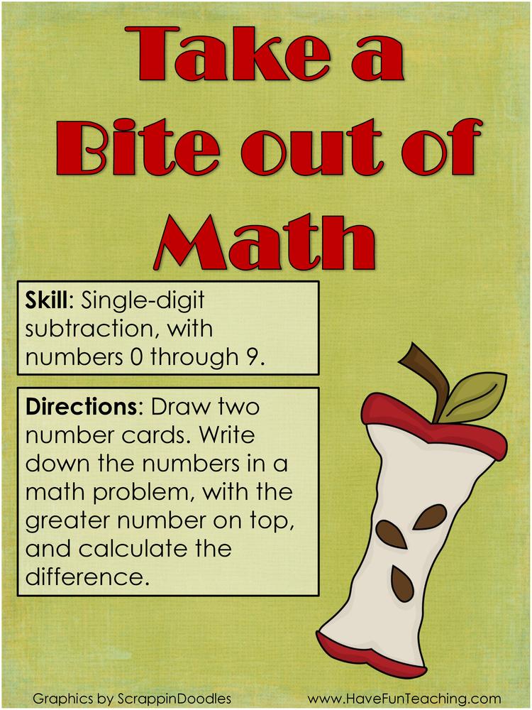 Single Digit Subtraction Activity