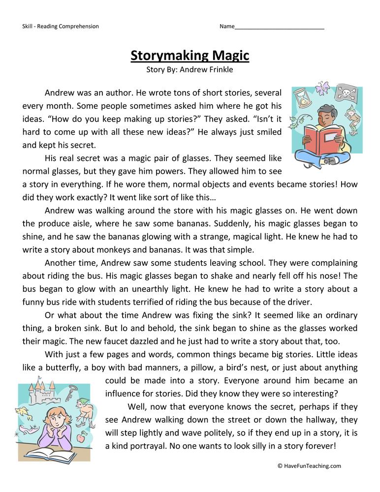 Story Making Magic Reading Prehension Worksheet