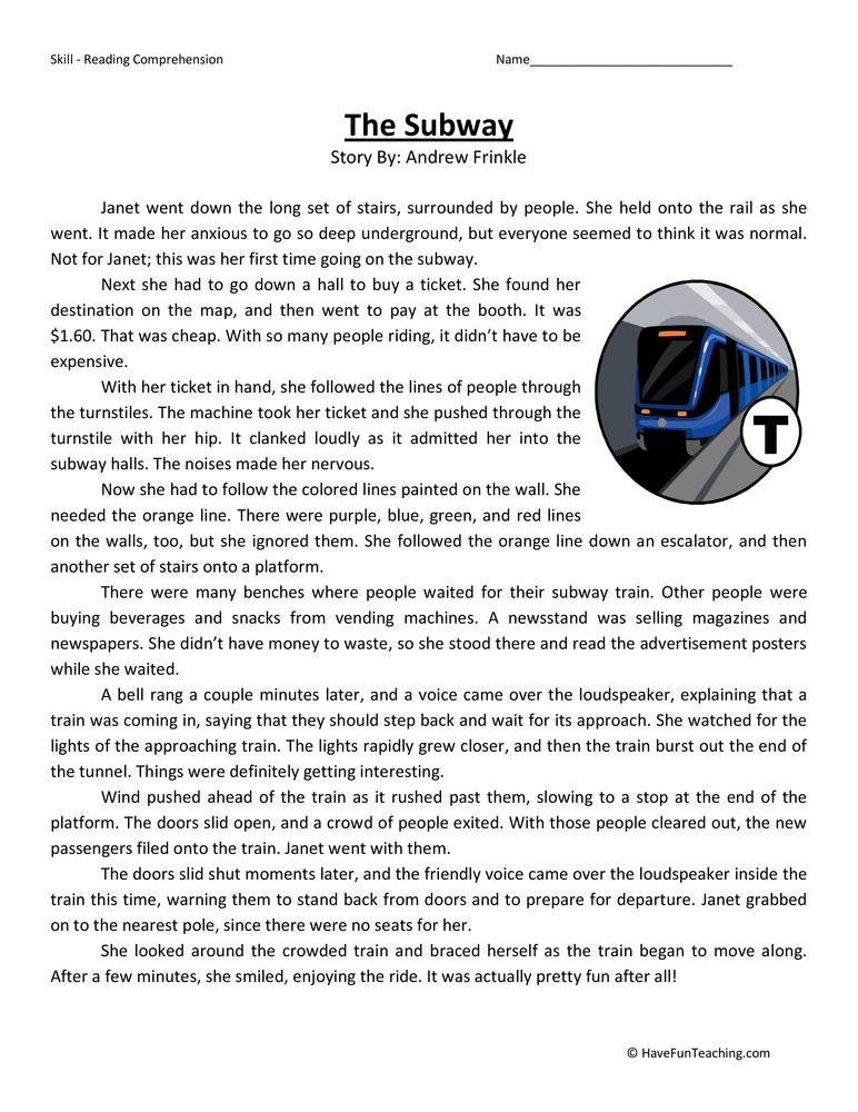 Subway Reading Comprehension Worksheet