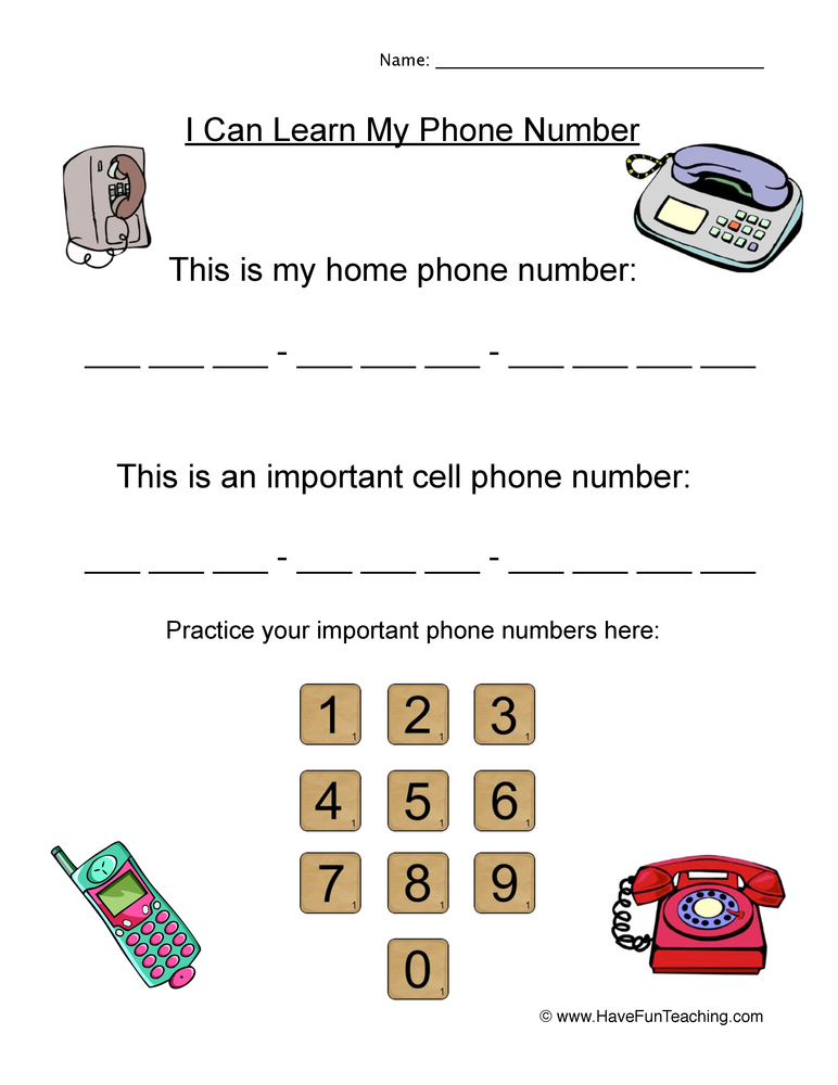 Resource Holidays Telephone Number Worksheet Important Numbers