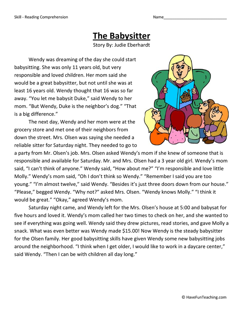 Printables Babysitting Worksheets fourth grade reading comprehension worksheet the babysitter worksheet