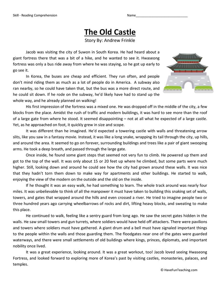 Fifth Grade Reading Comprehension Worksheet - The Old Castle ...