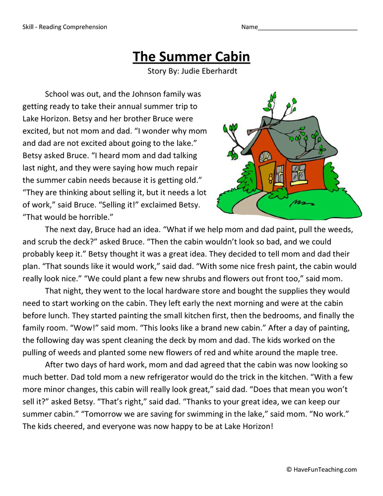 Fourth Grade Reading Comprehension Worksheets- Page 2 of 13 - Have Fun ...