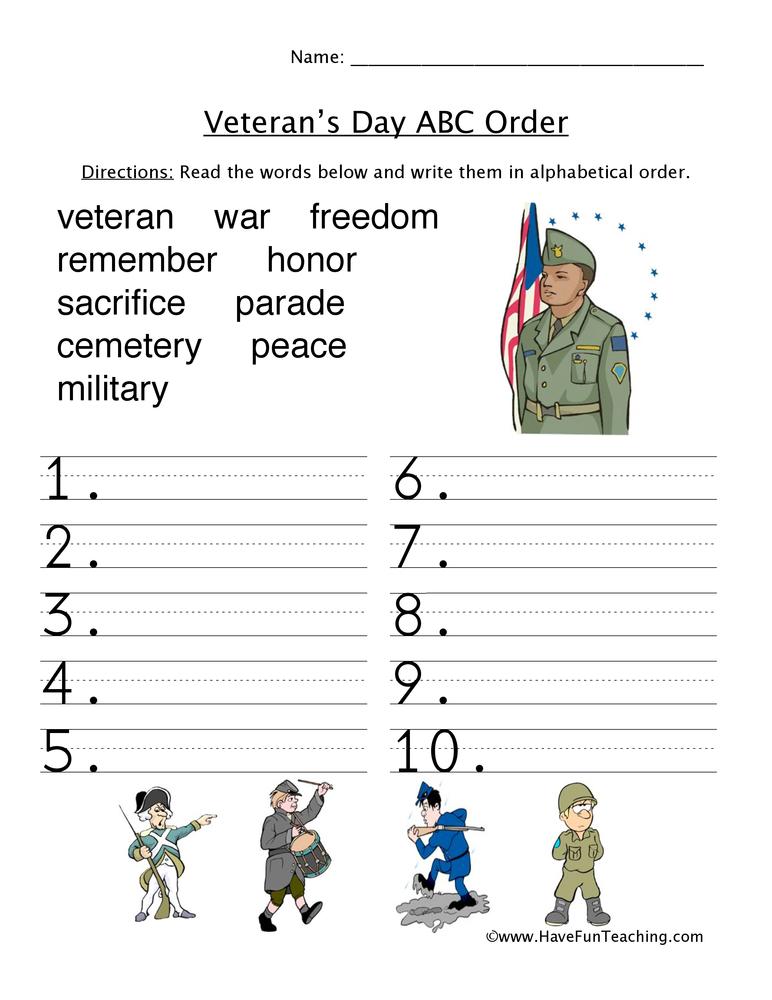 Veteran's Day ABC Order Worksheet