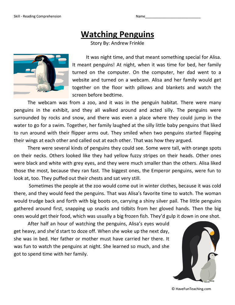 Watching Penguins Reading Comprehension Worksheet Have