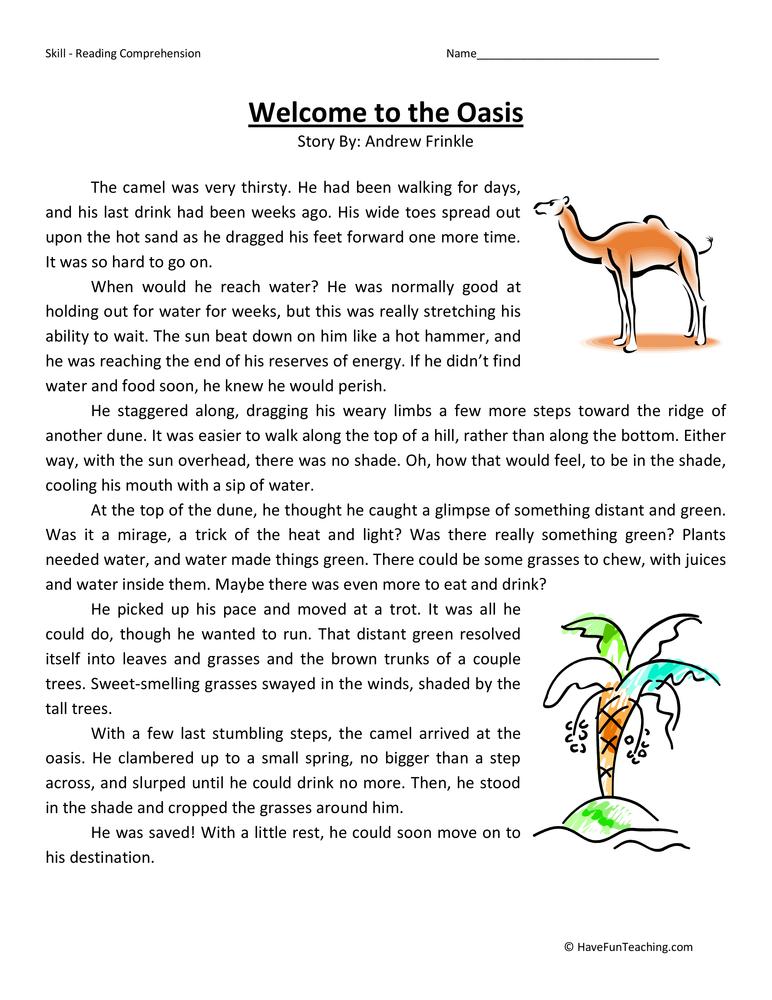 Reading Comprehension 4th Grade Worksheets